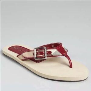 BURBERRY Raspberry Sorbet Plaid Nova Sandals - 8